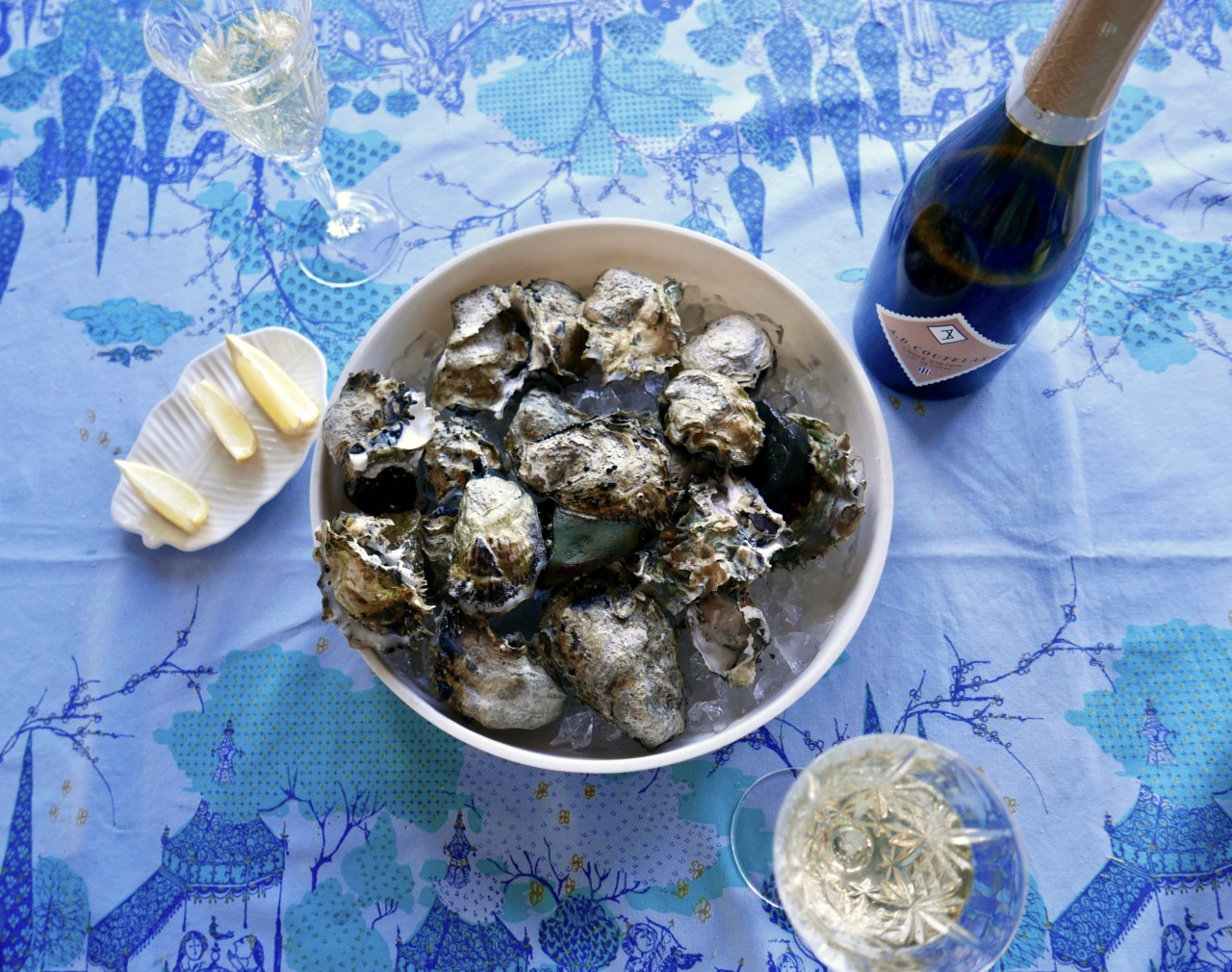 oysters-lemon-wiinblad-duk-sitron-champagne-green-house