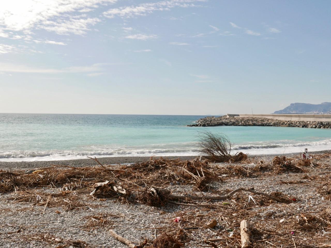 drivved-stranden-ventimiglia-cote-azur-middelhavet-plastic
