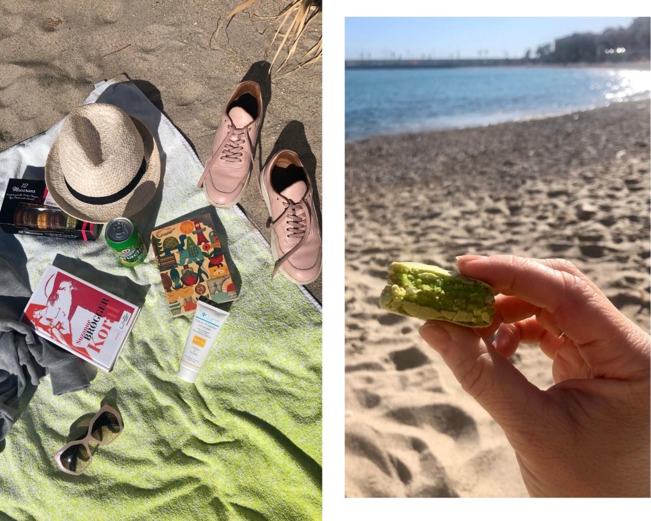 strand-badehandkle-makroner-suzanne-brogger-solhatt-menton-middelhavet