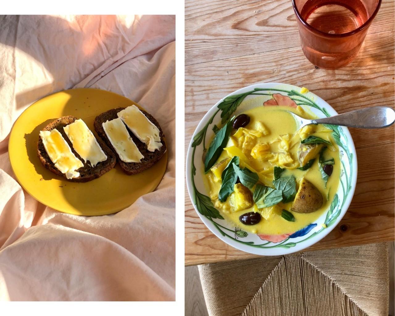gul-fiskegryte-brie-tallerken-safran-frokost-pa-senga