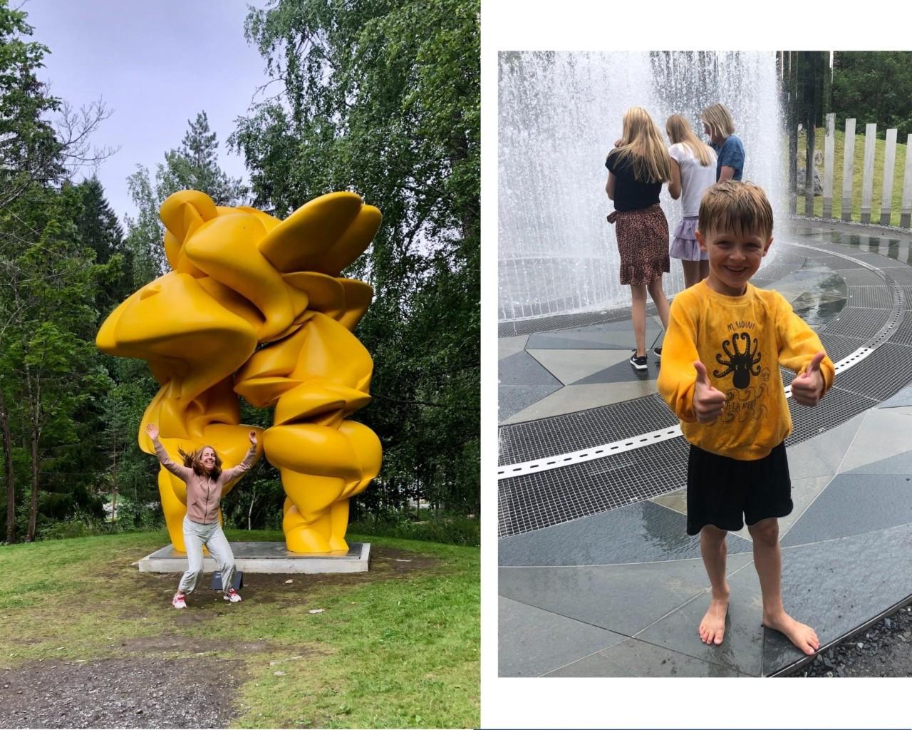 gul-skulptur-kistefos-museet-gutt-gul-genser-fontene-sommeren-2020