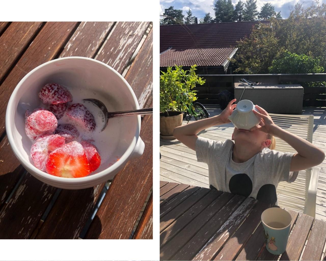 norske-jordbaer-gutt-drikker-terrasse-sommer